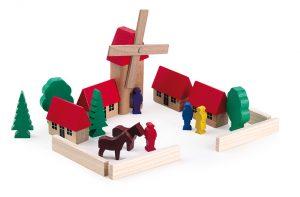 Wooden block set - MINI village Windmill