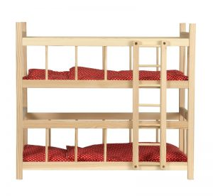 EGMONT BUNK BED WITH RED LINING WITH WHITE DOTS
