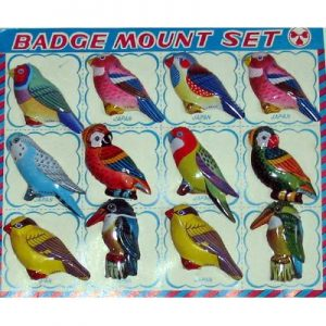 TIN BADGES, BIRD PATTERNS