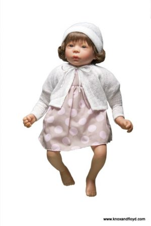Ralf Smith Doll - Betty 45cm Soft Body in Spotty Pink Dress & White Cardigan