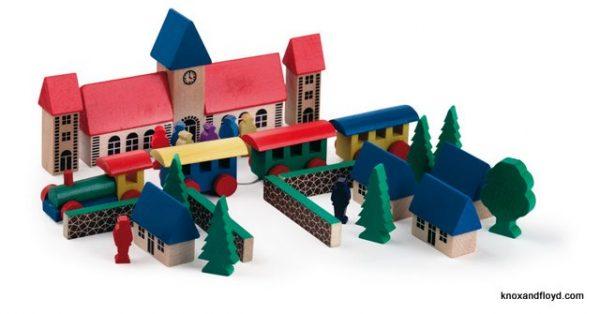 Wooden Block set - village with train
