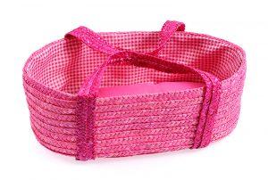 Doll/Teddy Straw Carry Basket - Pink