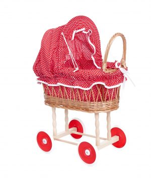 WICKER PRAM, RED & WHITE DOTS. Pre order SOLD Out