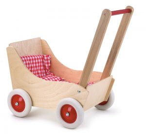 Egmont Beechwood Pram with Red Gingham Lining