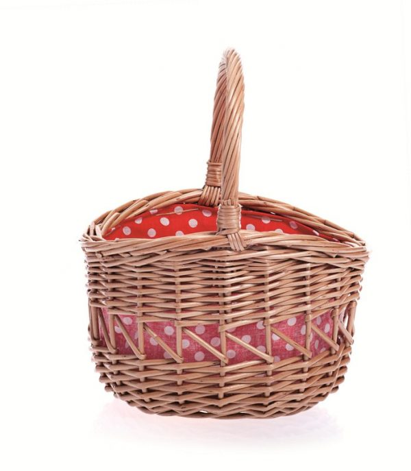 Small Round Basket with Red & White Spotty Lining
