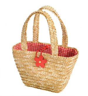 Egmont Straw Shopping Bag - Natural with Flower