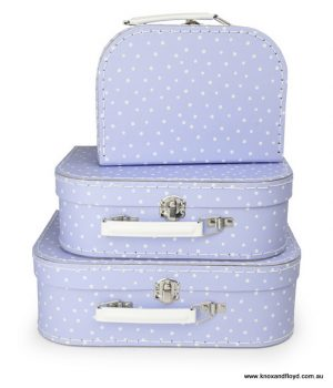 Egmont Suitcase Set 3 - Pale Blue with Little White Dots