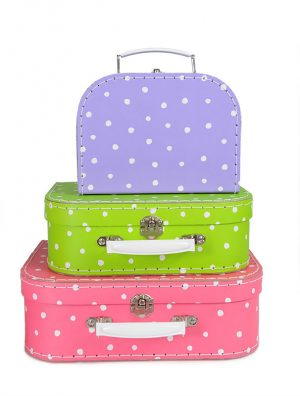 Egmont Suitcase set of 3 - Fuchsia Mauve Green with spots