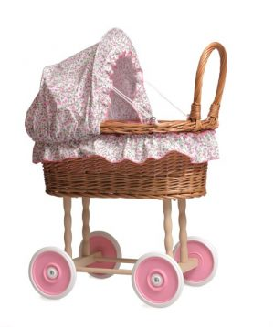 Egmont Wicker Pram with Flower Canopy & Bedding    520059