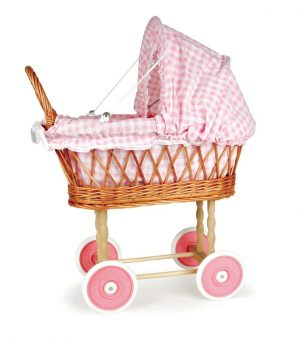 Egmont Wicker Pram - Pink Gingham Fabric                  520053