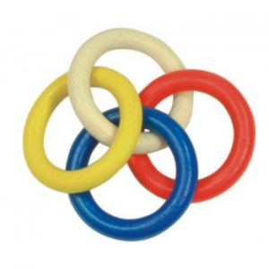 Gluckskafer Multi-Ring (Chain) Rattle - Coloured Wood
