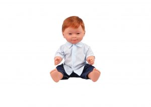 BABY DOLL WITH DOWN SYNDROME FEATURES 40 CM BOY RED HEAD