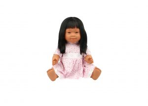 BABY DOLL WITH DOWN SYNDROME FEATURES 40 CM- Indian GIRL LONG HAIR