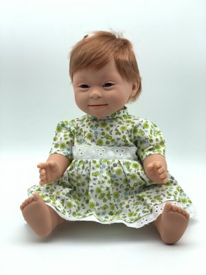 Doll with Down syndrome features 40cm short hair girl Red Head